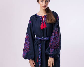 Dark blue exclusive boho dress with Ukrainian embroidery