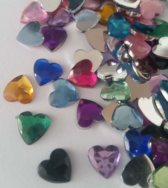 100 x Purple /& White Mix 8mm Pearl Flat Backed Heart Shape Beads Craft Christmas