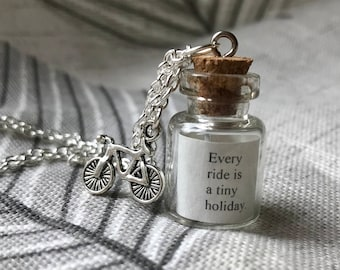 Tiny holiday - glass bottle necklace with bicycle charm, bicycle necklace, bicycle jewelry, cyclist gifts, bike necklace, bike jewelry