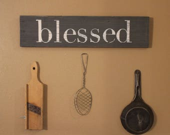 Blessed Reclaimed Wood Sign