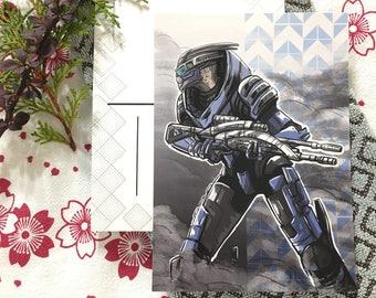 Mass Effect Garrus Vakarian mini print postcard
