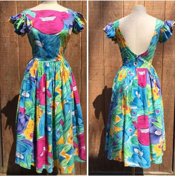 1980s Phool Floral Dress l 80s Summer Cotton Dress