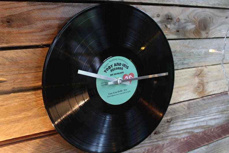 Wedding Anniversary gift your song vinyl record clock personalised