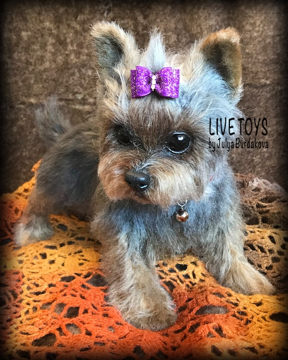Yorkie Realistic Stuffed Toy Yorkie Puppy Yorkshire Terrier Etsy
