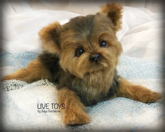 Realistic Stuffed Toy Yorkie Puppy Yorkshire Terrier Cute Etsy