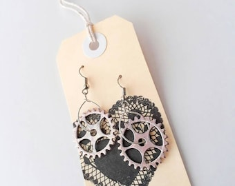 Cog, Wheel, Gear, Earrings.