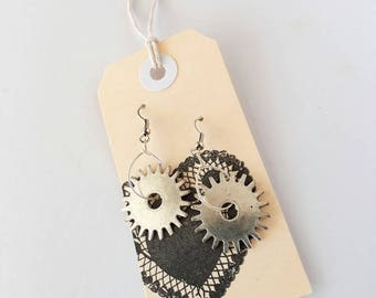 Cog, Wheel, Gear, Earrings