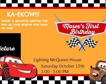 Disney Cars Lighting McQueen Theme Invitaitons Digital, Custom Disney Cards Photo Invitation. Lightning McQueen Photo Invitation. Cars party