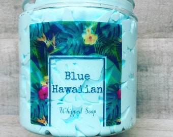 Blue Hawaiian, Whipped soap, Tropical Soap, Tropical Whipped Soap, Fruity whipped soap, fruity soap, Coconut Soap, Tropical Drink Soap