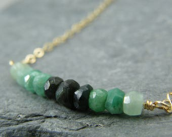 Birthstone necklace for May ~ Emerald gold necklace ~ May birthstone ~ Ombre Emerald Necklace ~ Genuine Emerald necklace ~ Gift for her ~