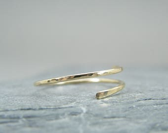 Dainty yellow gold ring ~ Minimalist yellow gold ring ~ Yellow gold filled rings for women ~ Yellow gold stacking rings ~ Open design ring