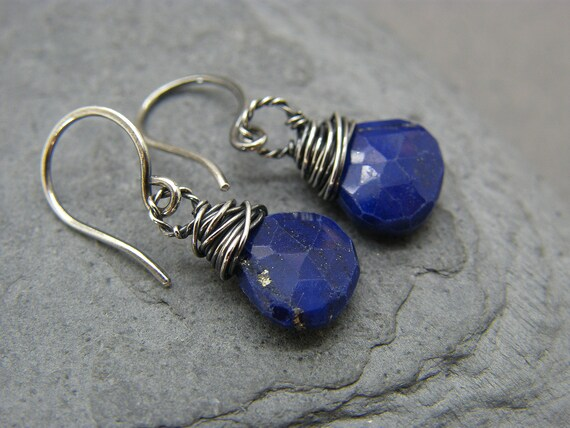 Cobalt Glass, Lapis Lazuli & Coin Pearl Earrings, Chandelier Earrings, Blue Gold White Earrings, French Style, Boho Chic, Small Earri