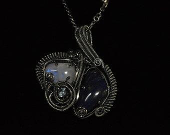 Rainbow moonstone, lapis lazuli and blue topaz silver necklace