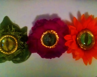 Eyeball Floral Hair Clips