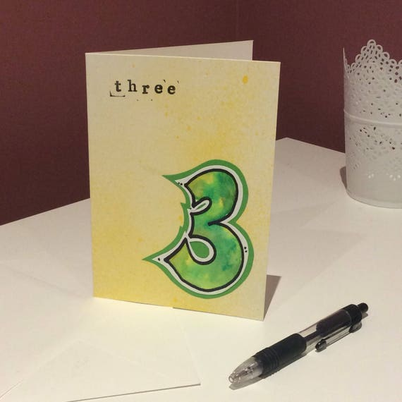 Hand Painted 3rd Birthday Card Unique For 3