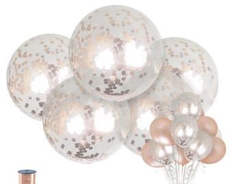 jumbo rose gold confetti balloons confetti balloon wedding balloons birthday bridal shower balloons