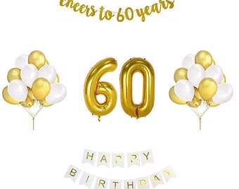 60th Birthday Balloon Decoration Set Gold And White