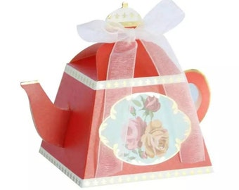 25 red teapot favor boxes christmas bridal shower favors tea theme tea party favors favor boxes christmas tea party