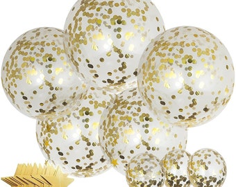 """5pc 36"""" + 3pc 12"""" Jumbo Gold Confetti Balloons with Gold Star Garland   Confetti Balloons   Wedding Easter Balloons Birthday   Bridal Shower"""