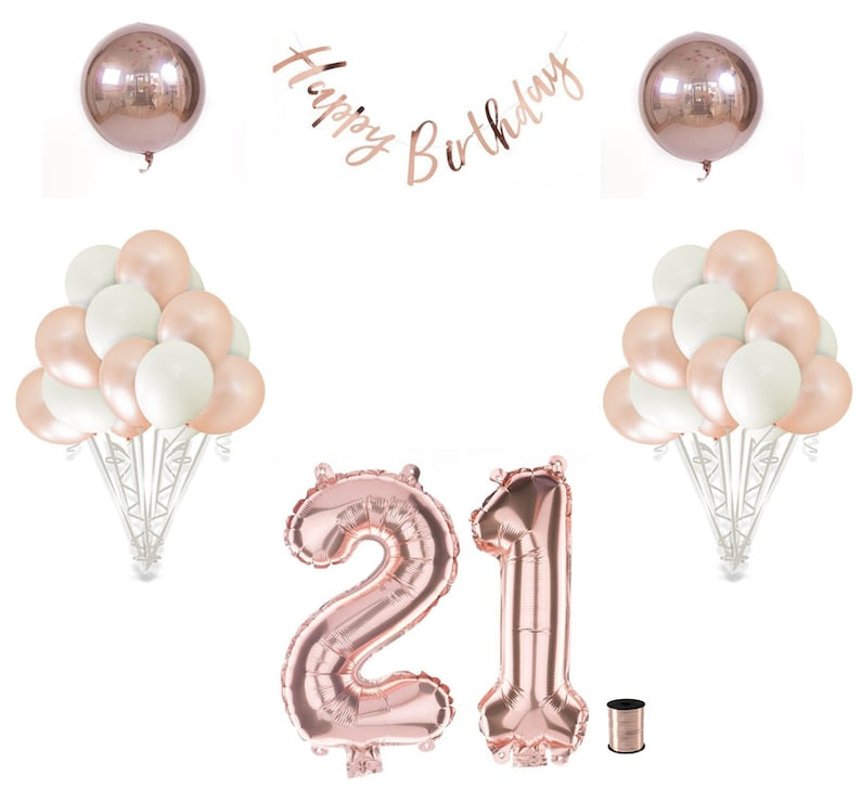 21st Birthday Balloon Set Rose Gold