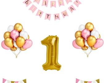1st Birthday Balloon Decoration Set - Pink and Gold | Cake Smash Ideas | First Birthday Decorations | First Birthday Girl Balloons | Pink