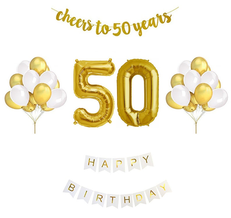50th Birthday Balloon Decoration Set Gold And White Golden