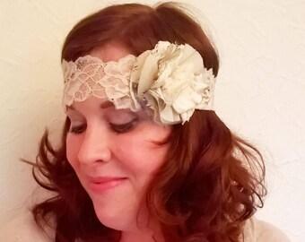Pretty stretch lace and chiffon flower bohemian style headband.