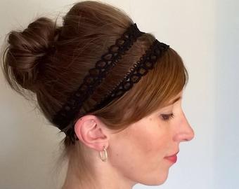Crochet trim double Headband, Grecian style headband, Black elasticated headband