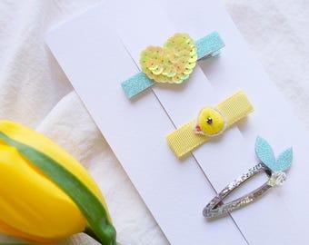 handmade kids hair accessories_'Cheep-cheep' set of 3