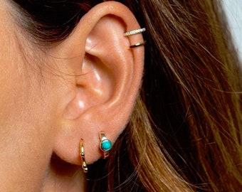 dcbcfc97e Turquoise hoops - Turquoise hoop earrings - Turquoise gold hoops - Tiny gold  hoop earrings - Small hoop earrings - Huggie earrings