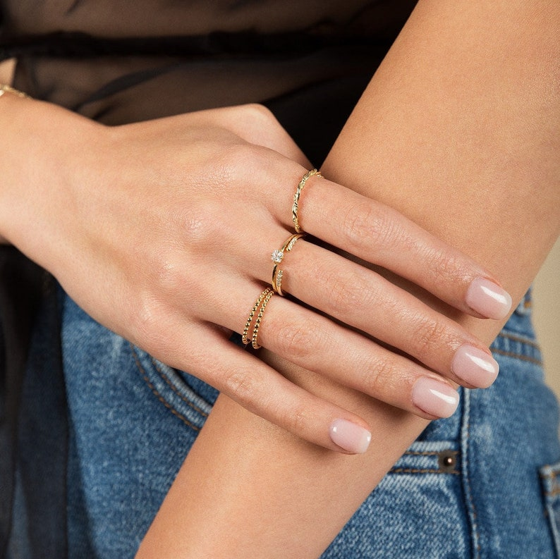 Dainty Ring Dainty jewelry Dainty gold ring Gold band ring Bead Ring Gold ring- Delicate ring Minimalist ring Thin gold ring