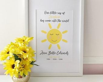 Nursery Birth Details Print - Ray of Sunshine