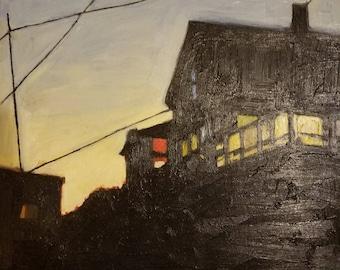 Vintage Oil Painting - Sonya Skarloff - Island At Dusk