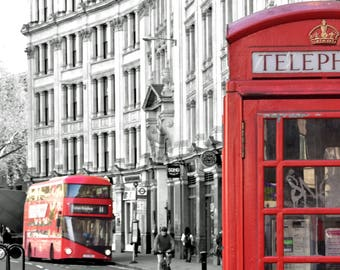 Red Route Master bus and classic phone box