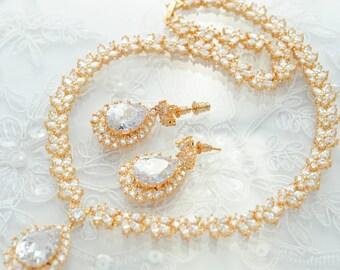 Gold Wedding Jewelry Set Rhinestone Jewelry Set Crystal Wedding Necklace Set Bridal Jewelry Set, Wedding Jewelry Set Bridesmaid Jewelry Set