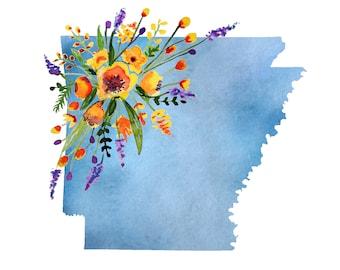 DIGITAL// Arkansas Floral Watercolor Print