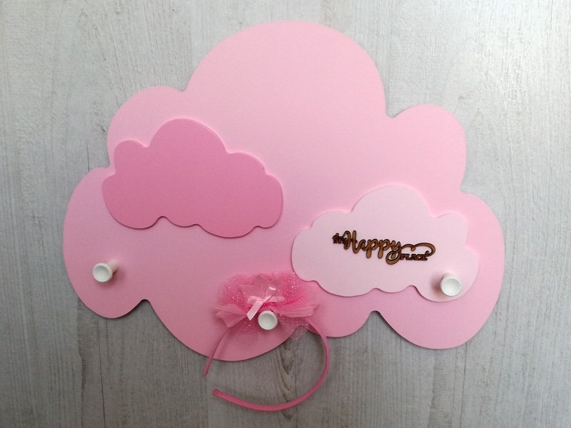 Cloud Shaped Wall Hanger, Kids Clothing Hook, Personalized Girls Room Furniture, Kids Coat Rack, Baby Shower Gift, Cloud Wall Decoration
