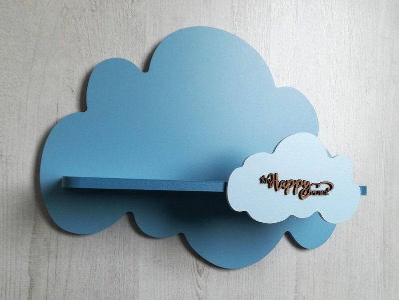 Kids Wall Shelf, Blue Clouds Shelf, Baby Shower Gift, Kids Room Decor, Nursery Wall Decoration, Personalized Gift For New Baby, 45 x 35 cm