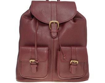 Premium Buffalo Leather Ladies Backpack - Brown