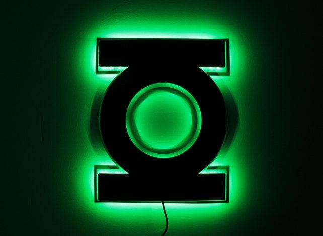 The Green Lantern Lamp Night Lightsled The Green Lantern Etsy
