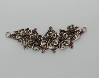 1 connector cross antique silver flowers - Ref: CB 804