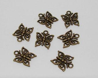10 small butterflies antique bronze openwork charms - Ref: BB 238