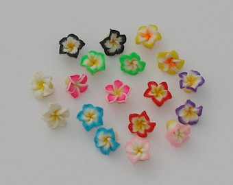 Polymer clay flowers beads 18 multicolored 15x9mm - Ref: PF 446