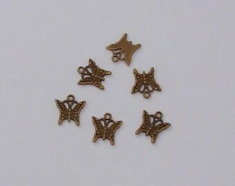 10 pendant butterflies antique bronze - Ref: GSW 311