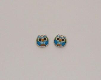 2 pendants owls in blue enamel tiles-Ref: EA 704