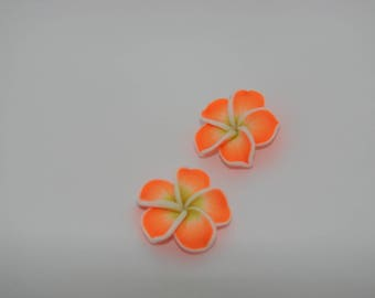 Orange and yellow flower polymer clay beads 2 34mm - Ref: PF 233