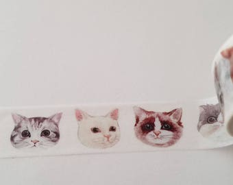 Cat Face Washi Tape, scrapbooking, stationary, tape, birthday
