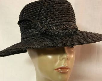 f9d6a175872 Ladies Vintage Black Straw Hat Made By Betmar New York