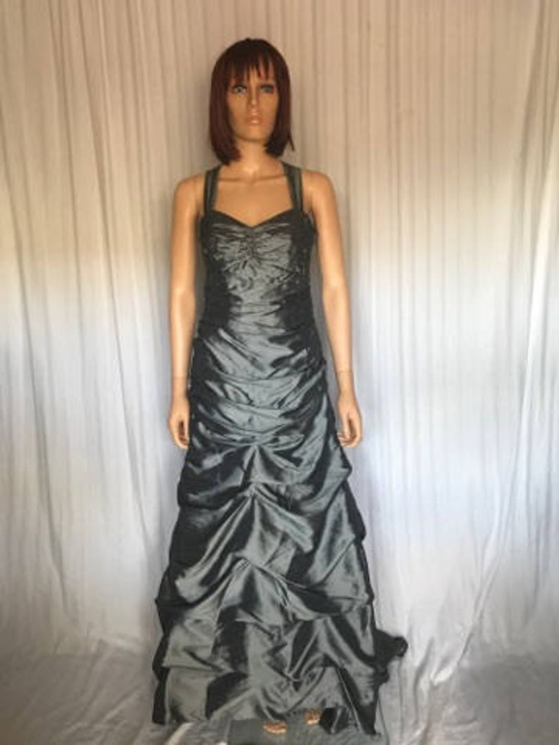 9018fb8bf58 Long Prom Dress By Betsy   Adam Magnificent Gray Silver