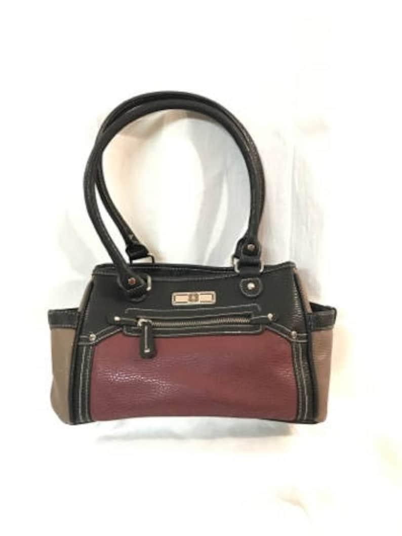 120c3dbaa13dcb Unique Burgundy Purse Black Tote Tan Handbag Multi Colored | Etsy